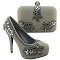 Conjuntos de prata venda Quente sapato correspondente Italiano e saco com strass para as mulheres, moda mulheres Africanas sapatos e bolsa set! HJZ1-96