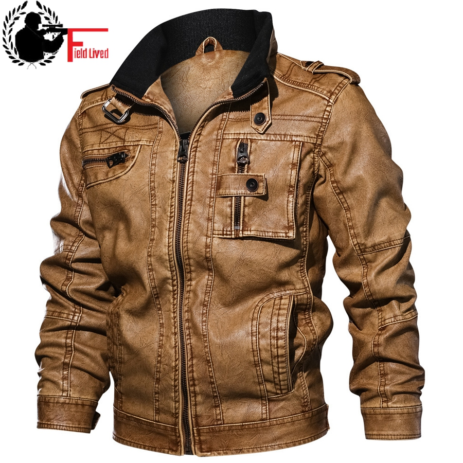 Faux Leather Jackets Men's Slim Fit Leisure Outwear Bomber Biker Winderbreaker PU Motorcycle Jackets Male Coat Plus Size 5XL 6XL
