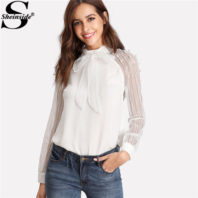61482d5d6f2b55 Sheinside 2018 Stand Collar Long Sleeve Tie Neck Bow Blouse Women White  Pearl Beading Embellished Striped Mesh Sleeve Shirt