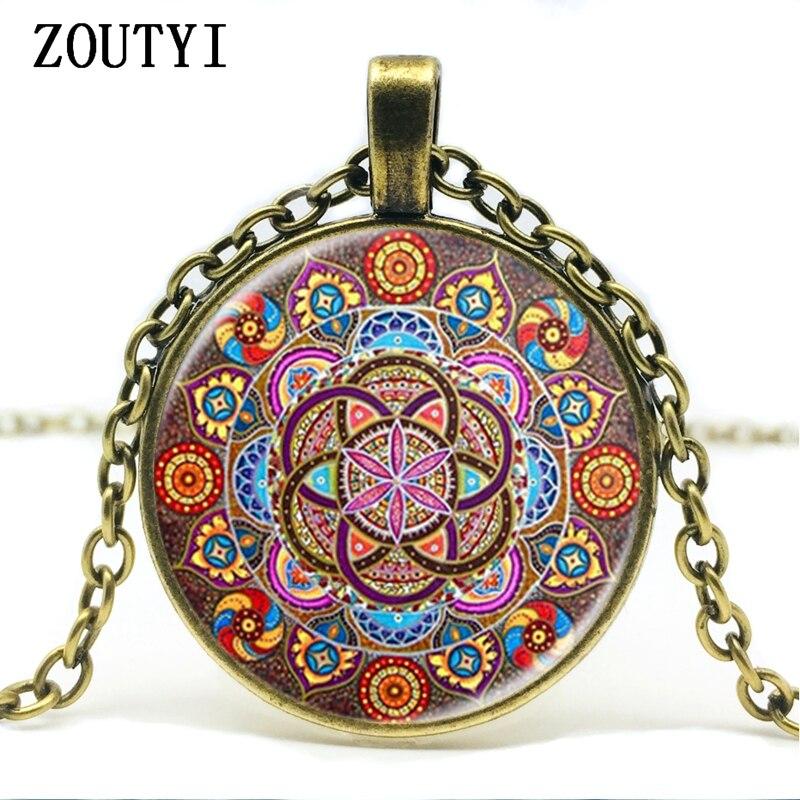 Mens necklace New Gift Necklace Henna Mandala Flower Necklace Om Symbol Zen Buddhism Glass Inlay Pendant Necklace