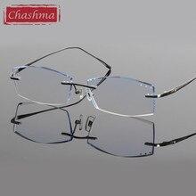 Chashma Brand Titanium Fashion Male Eye Glasses Diamond Trimmed Rimless Frames Man Eyeglass Frame Tint Lenses