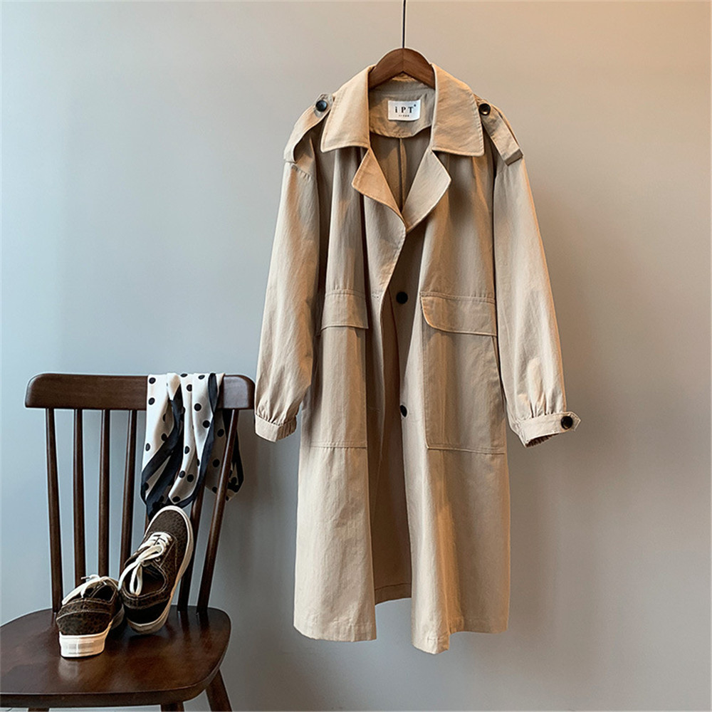 Vintage Cotton Women Coat 2019 Autumn Women's Casual Trench Coat oversize Single Breasted Washed Outwear Loose Clothing 68501 (27)