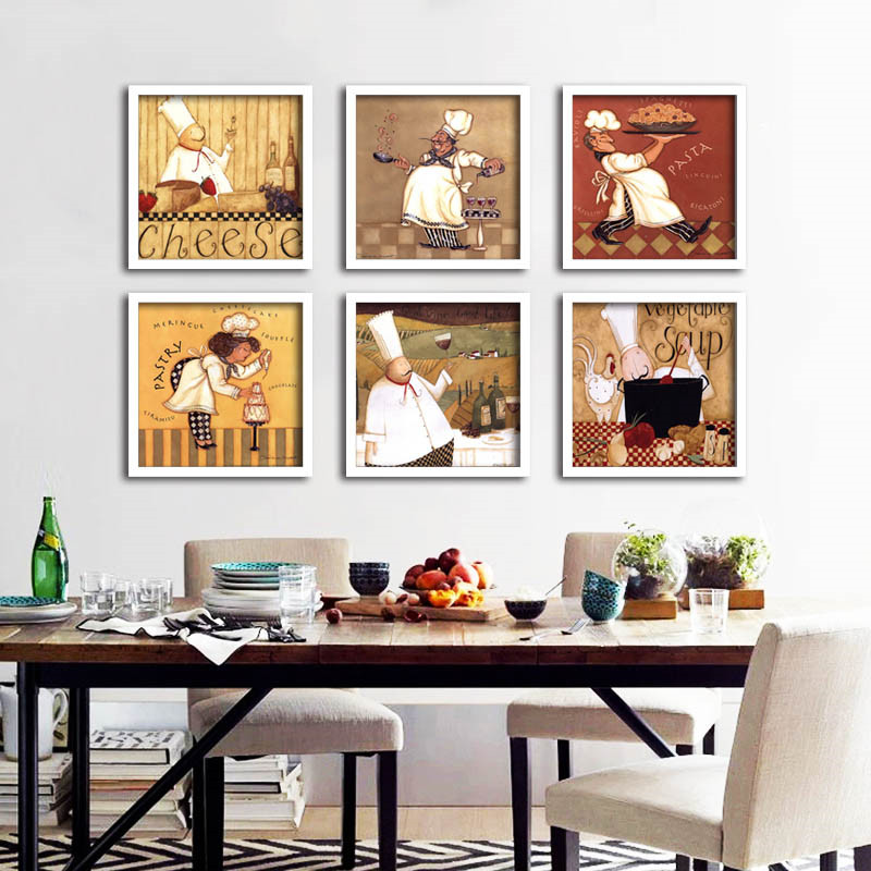Retro abstract art print poster chef on the canvas for Decoration retro cuisine