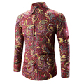 2017 Ретро Цветочные Печатных Человек Случайный Рубашки Моды Классический Мужчины Платье Рубашка Дышащая мужская С Длинным Рукавом Бренд Одежды