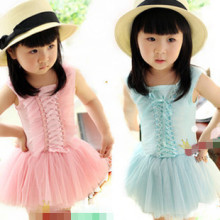 Summer hot sale girls cake tutu dresses kids princess bow dresses casual dress pink green