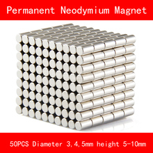50PCS cylinder mini Magnet diameter 3*10MM D4*10MM D4*5MM D5*5MM n35 Rare Earth strong NdFeB permanent Neodymium