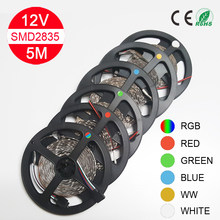 LED strip light 5m 60LEDs/m SMD 2835 White Warm White Green Red Blue LED strip 12V NON-Waterproof flexible Tape rope stripe(China)