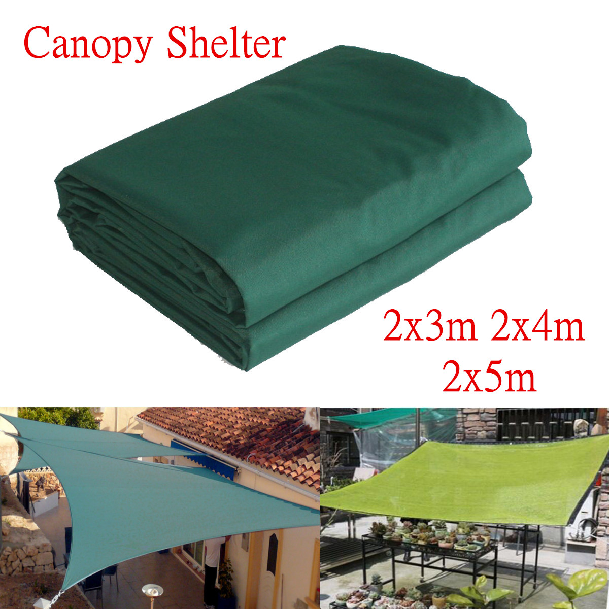 3/4/5m Heavy Duty Shade Canopies Outdoor Camping Hiking Yard Shelters Cover Waterproof Garden Patio Awning Accessories Green