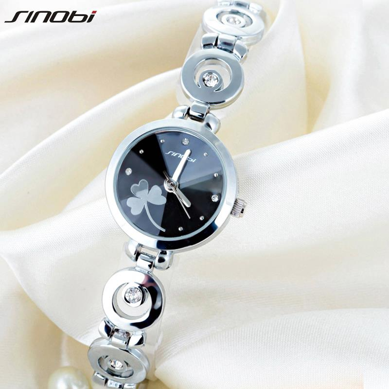 New Original SINOBI Brand Women s Watch Fine Steel Strap Ladies Luxury Bracelet Watches with Clover