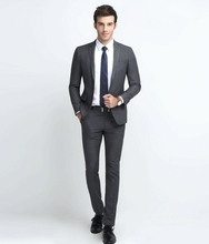 custom made Worsted Wool mes suits Slim grey stripe business suits men's three-piece groom wedding dress XKZ05