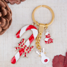 Doreen Box Key chain & Key ring Christmas Reindeer Gold color Christmas Candy Cane House Rhinestone White&Red Enamel 9.3cm,1PC