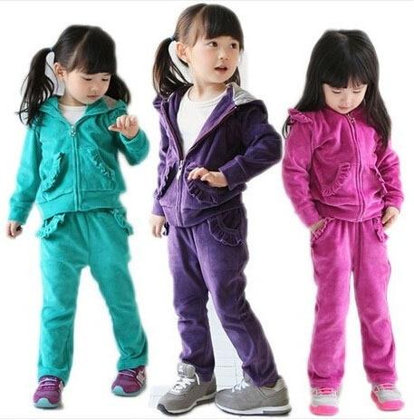 2014 New Autumn Girls Clothing Sets Kids Velvet Sports Suit Baby Children Velour Twinset: Long Sleeve Sweatshirt+Pants