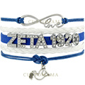 (10 PCS/Lot) Infinity Love Rhinestone ZETA 1920 Dove Charm Bracelet Blue White Wax Suede & Leather Bracelet Custom Any Themes