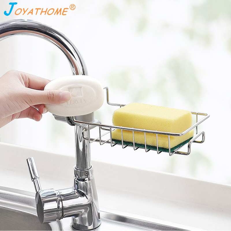 Joyathome Kitchen Stainless Steel Hanging Rack Sponge Drain Rack Sink Storage Hanging Holder Baskets Soap Sponge Drain Rack-in Racks & Holders from Home & Garden