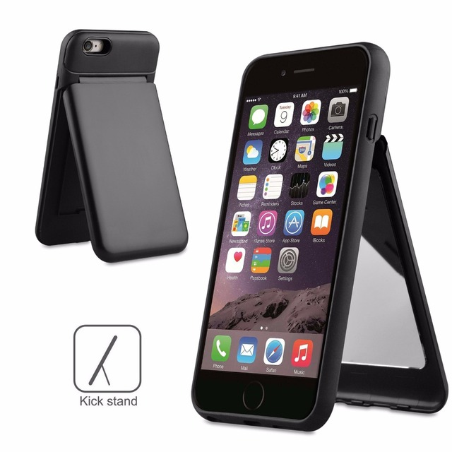 cheap for discount f8edc 4c38f US $4.99 |For iPhone 6 Plus Hidden Credit Card Holder Slot Hard Case Stand  Cover With Mirror For iPhone 6S Plus Mobile phone Capa Coque-in ...