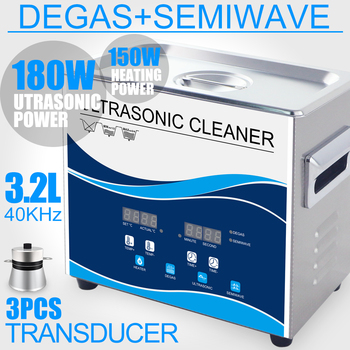 180W Ultrasonic Cleaner 3.2L Stainless Bath Degas Household Wash Jewelry Circuit Board Hardware Parts Piston Dental Instrument digital ultrasonic cleaner 30l bath power heat adjustable pcb circuit board dpf auto parts hardware glassware ultrasonic washer