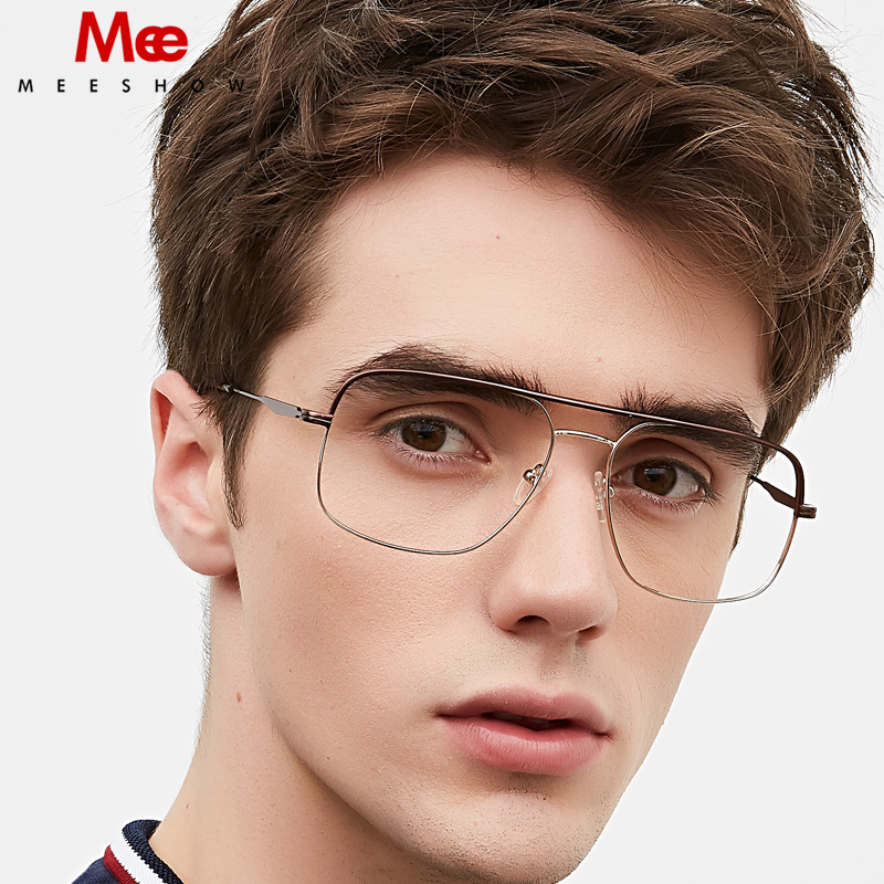 Titanium Alloy Glasses Men's Glasses Square Ultrlight Prescriptopn Glasses Preogressive Large Eyeglasses Spectacle Frame 1101A