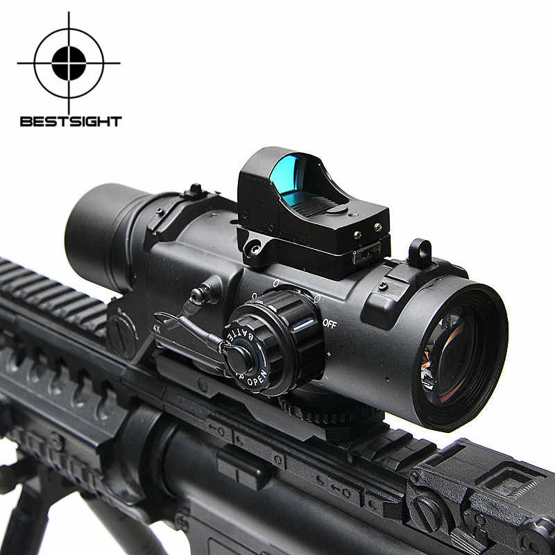 Tactical Rifle Scope Dr Quick Afneembare 1X-4X Verstelbare Dual Rol Sight Airsoft Scope Magnificate Scope Voor Jacht