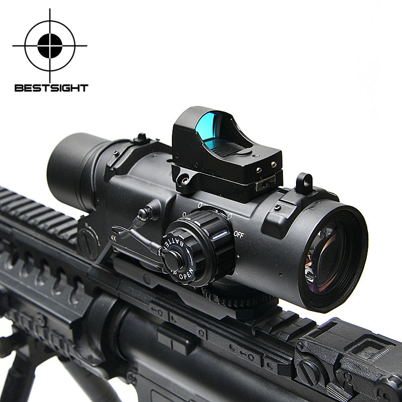 Portée de fusil tactique DR détachable rapide 1X-4X réglable double rôle viseur Airsoft portée magnifique portée pour la chasse