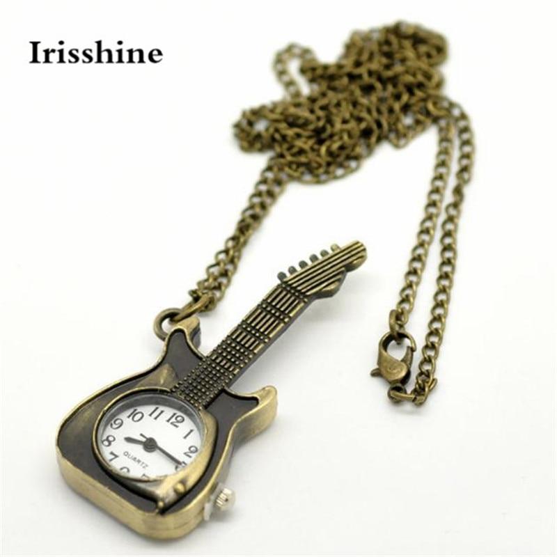 Irisshine I0856 Unisex Watch Couple Love Gift Brand Luxury Guitar Shape Pocket Quartz Keyring Watch Keychain Pendant Gifts