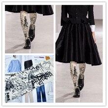 RUIN women 's tights Personality graffiti black print pantyhose female girl tights