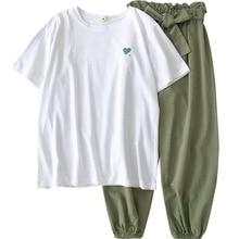 שתי חתיכה סט אימונית נשים קיץ בגדים נשי קוריאני מקרית הרמון מכנסי טרנינג חליפות 18 24 גיל Harajuku ילדה