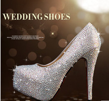 new fashion wedding shoes ultra high heels platform rhinestone crystal the bride shoes wedding shoes size