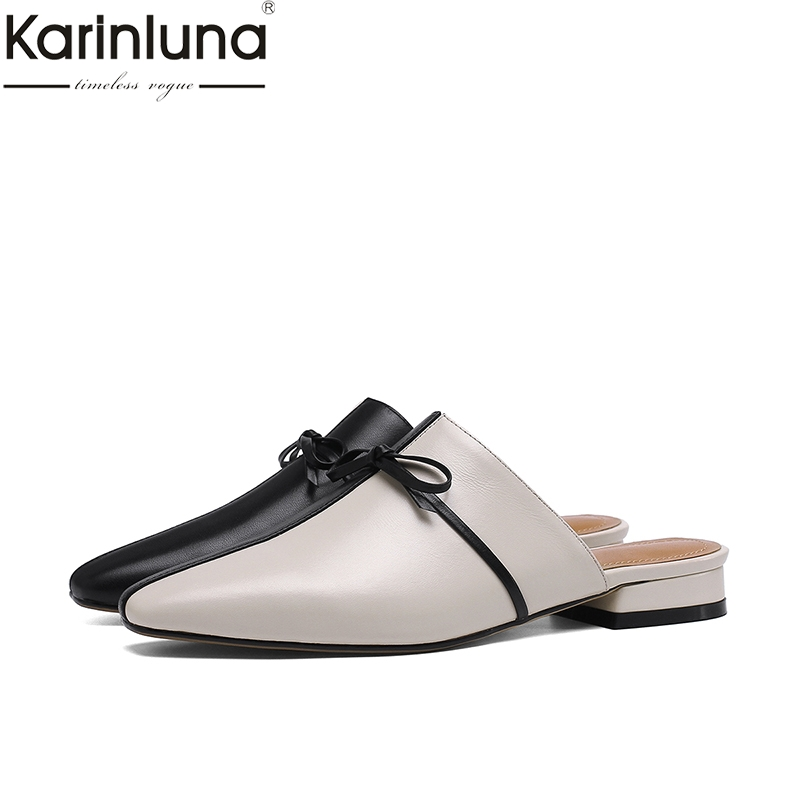 KarinLuna Genuine Leather Chic Style 2019 Brand New Mature womens Shoes Classics Elegant Fashion Mules womens FlatsKarinLuna Genuine Leather Chic Style 2019 Brand New Mature womens Shoes Classics Elegant Fashion Mules womens Flats