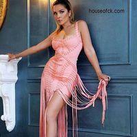 High Quality HL Black Pink Manual Long Tassel Long Bandage Dress Celebrity Evening Party Dress Vestidos