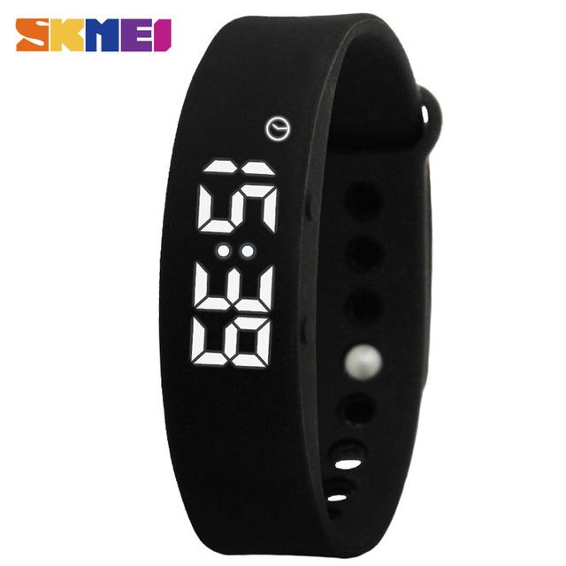 Skmei w5 display pulseira de calorias pedômetro inteligente pulseira new sports digital led jelly cor termômetro rastreador de fitness
