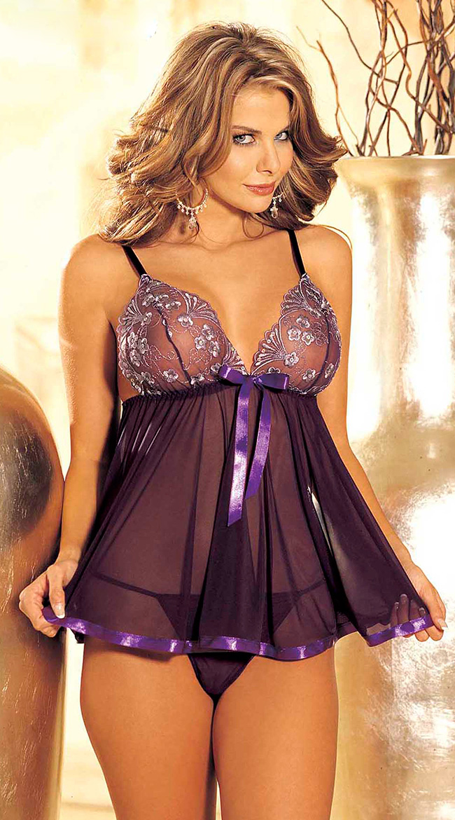 Embroidery Sequine Plus Size Sexy Lingerie Women Transparent Backless Sexy Underwear Sleepwear Nightwear Lenceria