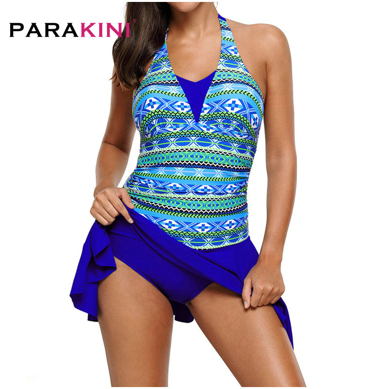 PARAKINI Large Size Swimwear Dress Big One piece Swimsuit Women With Skirt Retro Swim May Beach Female Bathing Suit Beachwear new summer swim dress swimsuit big cup sexy women swimwear plus size tankinis set beach dress female large size swimsuit floral