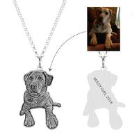 Amxiu Customized Personalized Pet Dog Picture Jewelry Engraved Name 925 Sterling Silver Necklace for Men Women Girls Boys Gifts