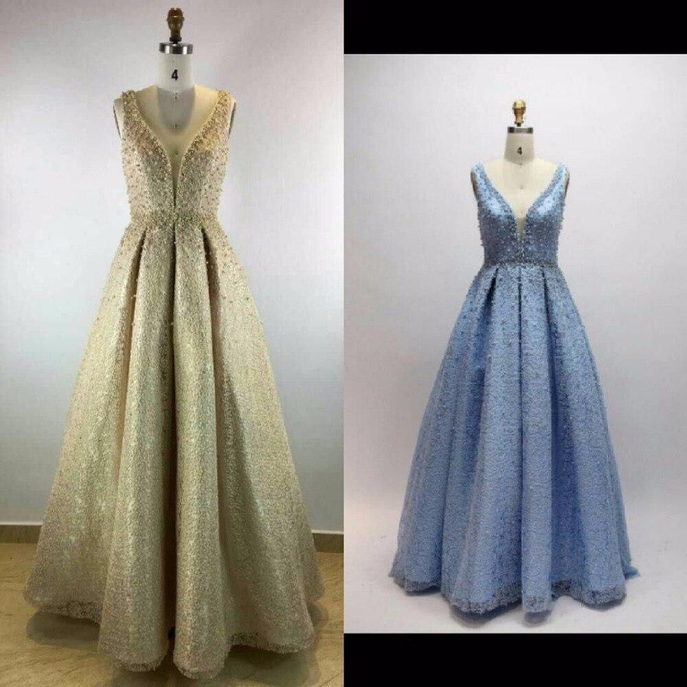 Robe De soirée 2018 nouveautés luxuryv-cou bleu ciel élégante longue a-ligne robes De soirée Satin robes De soirée formelles vraies Photos - 5
