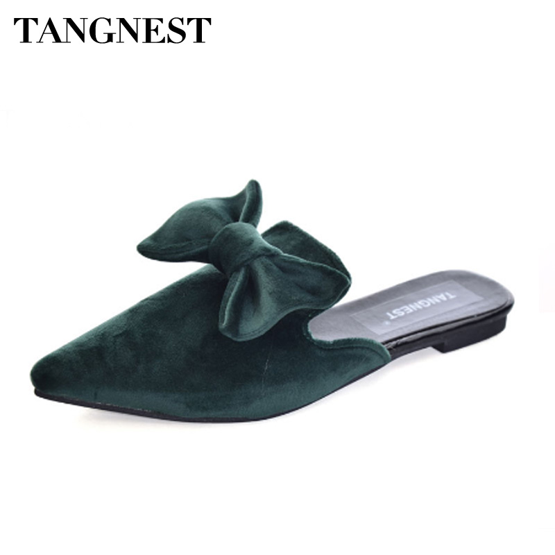 Tangnest Sexy Women Velvet Slingbacks Shoes Flock Leather Pointed Toe Mules Sweet Butterfly-knot Slippers Female Flats XWZ4514 pu pointed toe flats with eyelet strap