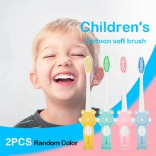 2pcs bear children cartoon soft soft toothbrush baby vertical deciduous teeth training toothbrush 1 pc teeth model children deciduous teeth