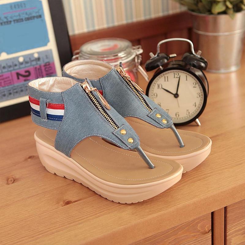 Wedges Shoes For Women High Heel Summer Ladies Gladiator Sandals Woman Platform Cowboy Zipper Sandalias Mujer 2018 hj98 12