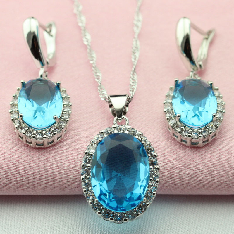 Women Gift Bridal Jewelry Sets Pendant Necklace Dangle Earrings Round Turquoise