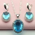 Round Blue Stone Party Jewelry Sets Silver Plated Children's Jewelry Necklace Pendant Drop Earrings for Women Free Gift Box