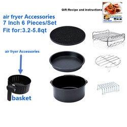 Air Fryer Accessories 7 Inch for 5.8 qt XL Air Fryer, Set of 6 Pcs, Fit Airfryer 3.2QT to 5.8QT