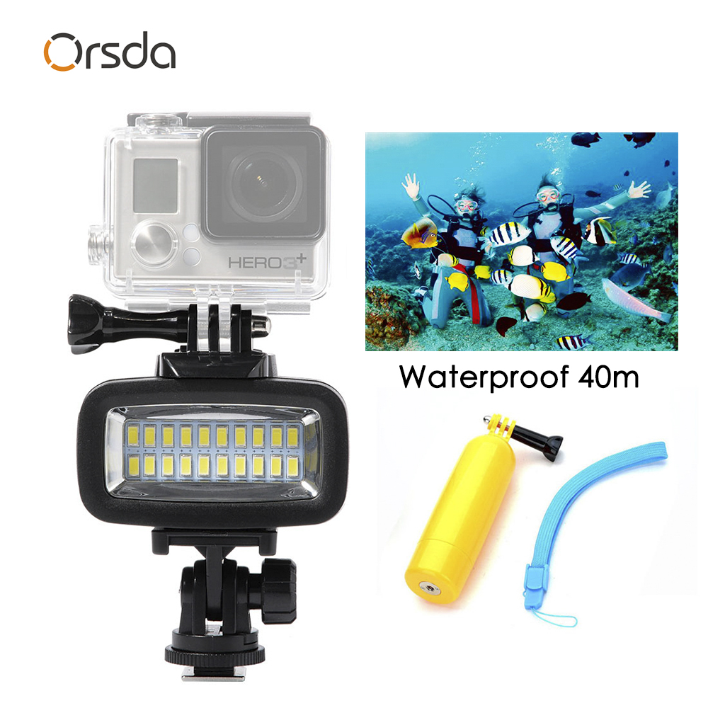 Orsda Diving Light Video LED High Power Outdoor Waterproof Lamp For GoPro SJCAM Sports Action Cameras flash gopro Lights-in Sports Camcorder Cases from Consumer Electronics