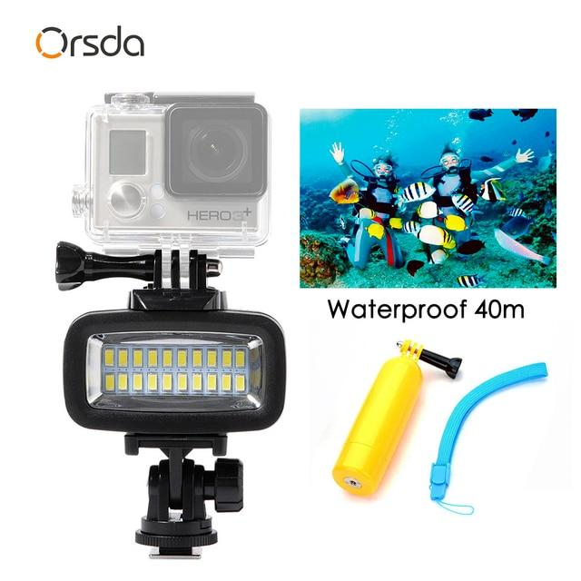 Orsda Luz LED de buceo para exteriores, lámpara impermeable de alta potencia para GoPro XiaoYi SJCAM, cámaras de acción deportivas, flash, luces gopro