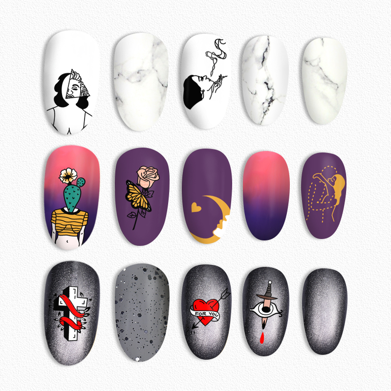BORN PRETTY Artist Theme Stamping Template Rectangle Nail Stamping Plates Flower Butterfly Image Painting DIY Nail Art Stamping in Nail Art Templates from Beauty Health