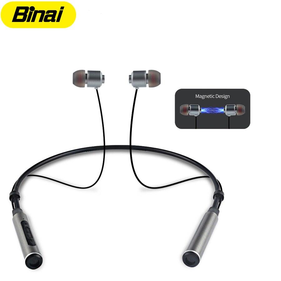 BINAI Bluetooth Headset In-ear Sweatproof Sports Earbuds for Running Noise Reduction Mic Hansfree Wireless Earphones