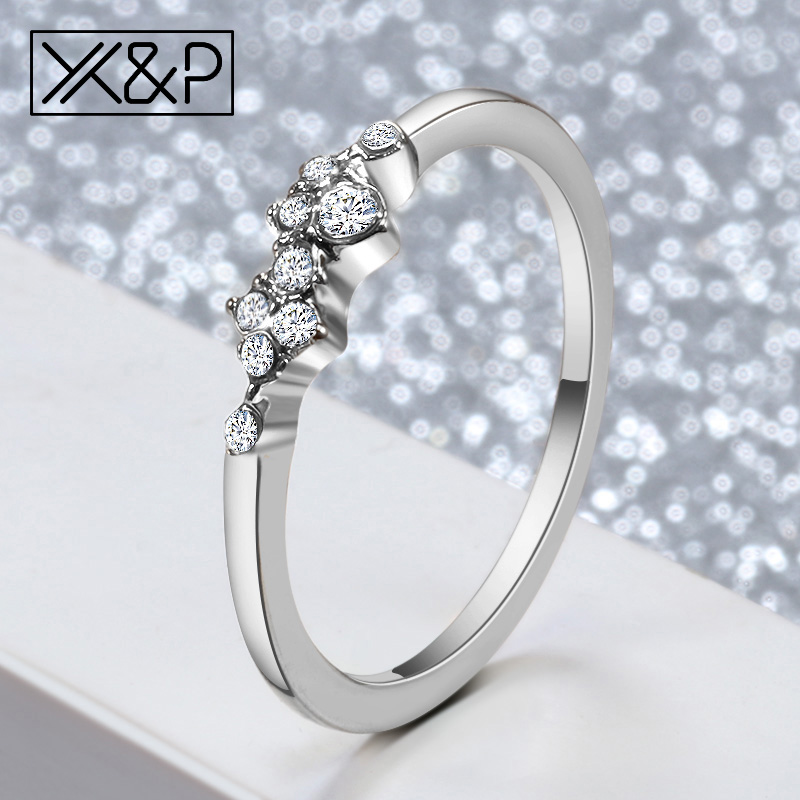 Crystal Rings Engagement Wedding Small Silver Cute Simple Jewelry Gift Lightweight Gold