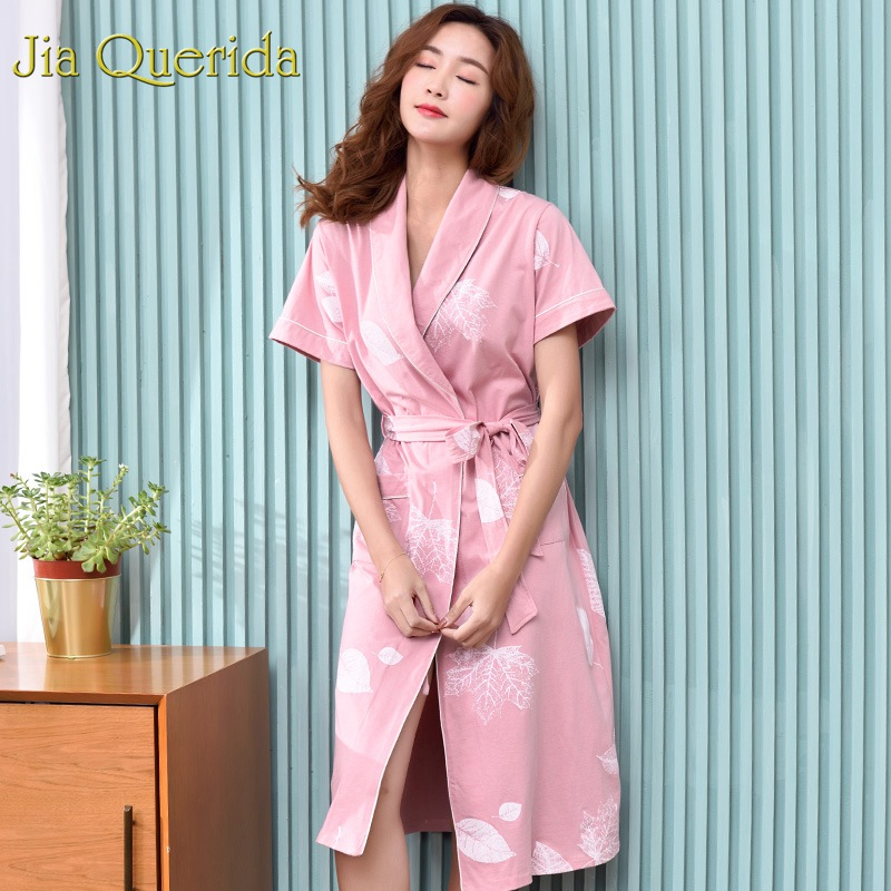 J&Q Pink Kimono Robe Women 100% Cotton Nightrobe 2019 New Short Sleeves Floral Print Fashion Women's Bathrobe Bride Robes Women