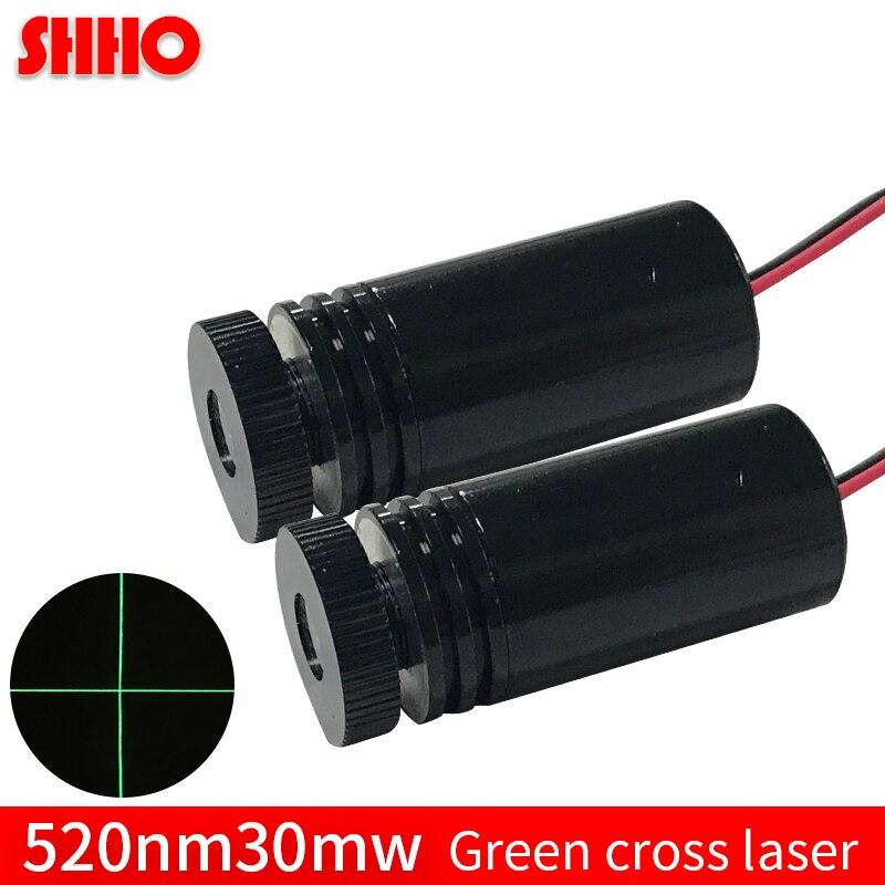 Ajustável a Espessura da Linha de Laser Verde do Laser Módulo Cruz Linha Transversal Laser Posicionamento Estável Banda Industiral 520nm 30 mw