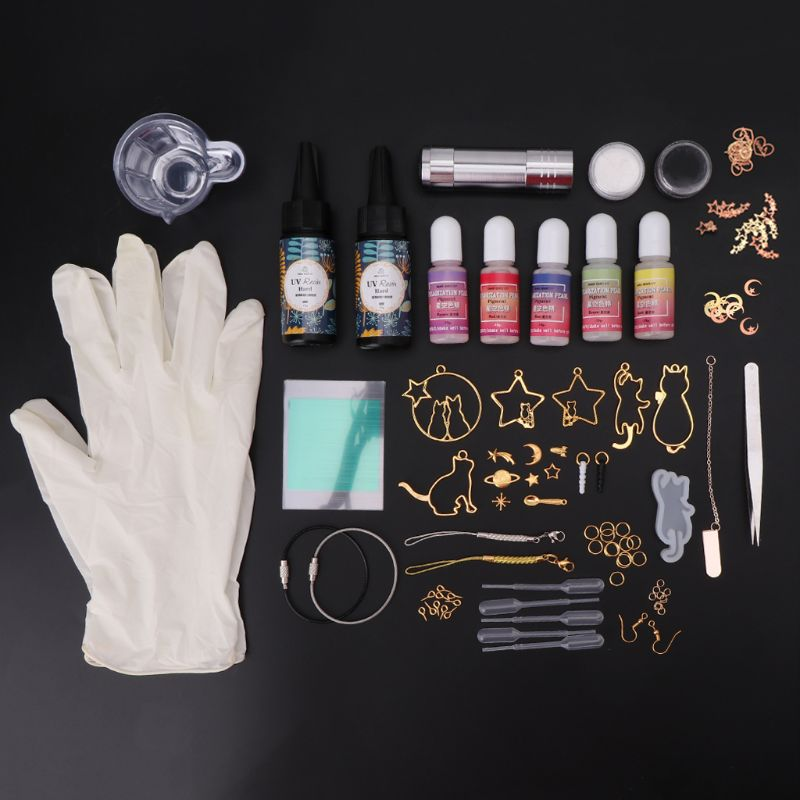 Epoxy Mold Hand-made Materials Package DIY Crafts Cat Metal Frame Starry Sky Glue Newbie Set Ear Hook Mold Making Kit Tools