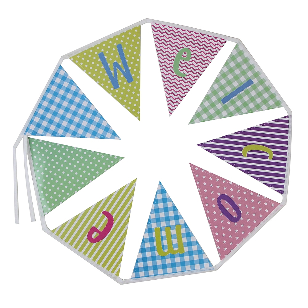 Colorful Welcome Banner To The Party Bunting Back to School  Baby Shower Birthday Wall Hanging Decor