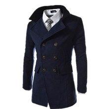 2015 Горячие Продажа Мужчины Верхняя Одежда Пальто Мужчины Куртка Двойной Грудью Пальто Мужчины Пальто С Высоким Воротником